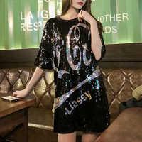 Frauen Plus Größe Kleider Kurzarm Beiläufige Lose Mode Cartoon Streetwear Pailletten Party Club Mini Sommer Kleid Mujer