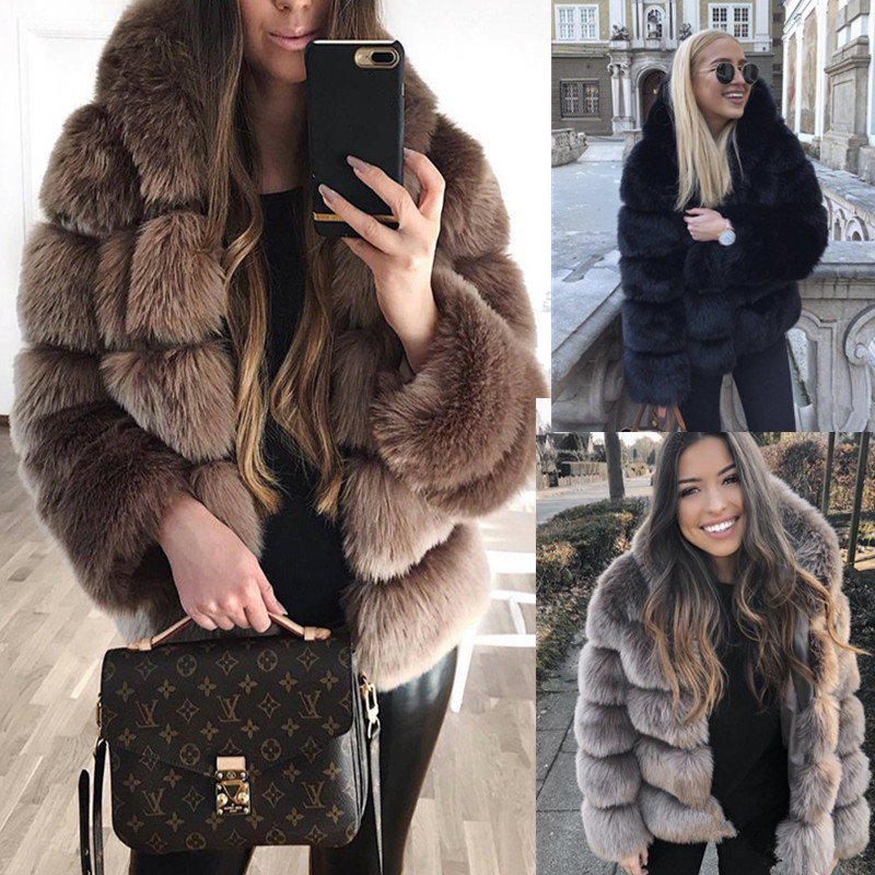 Womens Coat Women Fashion Luxury Faux Fur Coat Hooded Autumn Winter Warm Long Coat