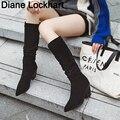 Herbst winter Frau kniehohe Stiefel Western Cowboy Boot Chunky Heels war dünn schuh weiß Mikrofaser Leder botas mujer 31 38 46