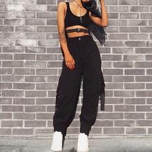 Kobiety Streetwear Cargo spodnie damskie Casual Joggers czarne wysokiej talii luźne damskie spodnie w stylu koreańskim spodnie damskie Capri tanie tanio hirigin Kostki długości spodnie COTTON Poliester Stałe Na co dzień Cargo pants Przycisk fly Mieszkanie Wysoka Suknem