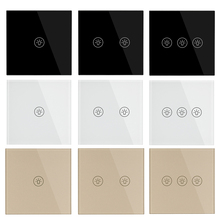 цена на EU/UK Standard 1/2/3 Gang 1 Way Crystal Panel Glass Light Switches,Wall Light Switch High Sensitive Touch Wall Touch Switch 220V