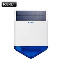 KERUI חדש אלחוטי פלאש Strobe Waterproof שמש חיצוני סירנה Alarma עבור אלחוטי GSM אבטחת בית אזעקה מערכת אנרגיה תשלום