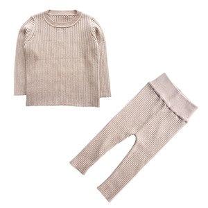 Image 2 - 2020 春の新 6m 4t冬の女の赤ちゃんセットニットboysセットセーター + パンツ 2 個子供服綿ニットスーツ
