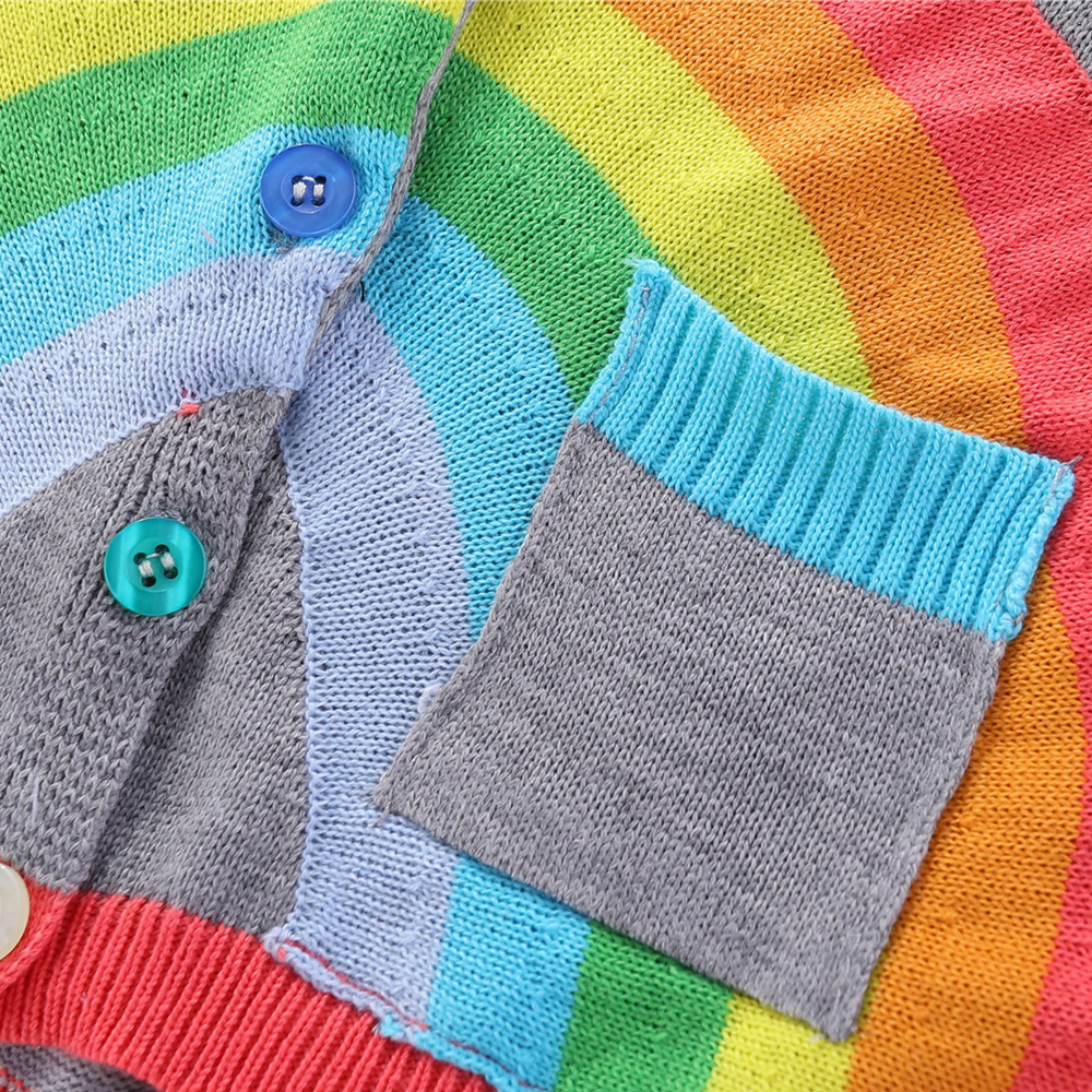 Mudkingdom Girls Boys Knitted Cardigan Sweater Rainbow Clouds Thin Outerwear Tops for Kids 5