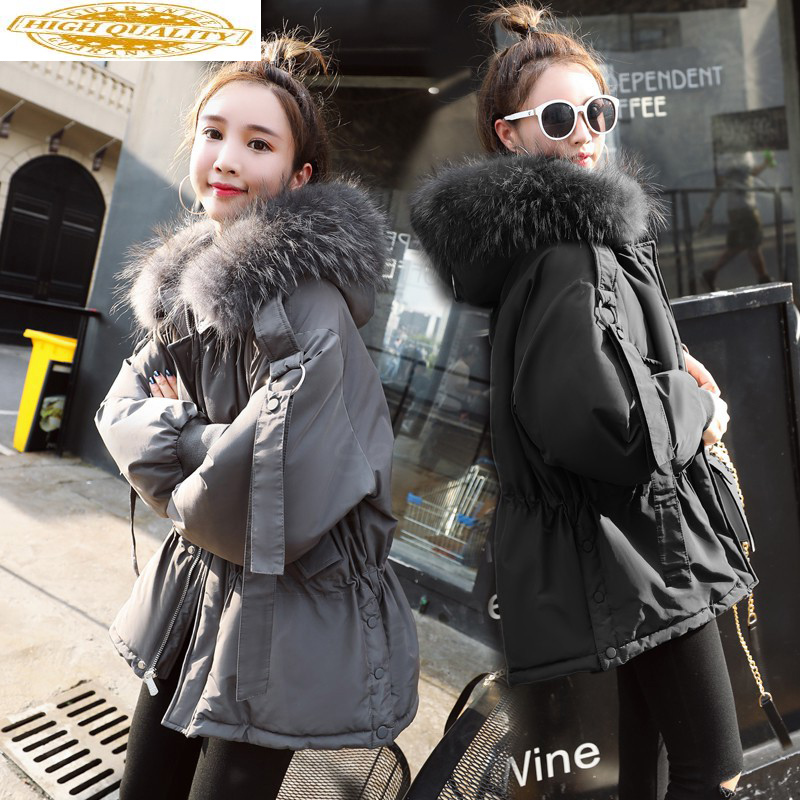 Winter Down Jacket Woman Hooded Big Fur Collar Down Coat Women Parka Short Thick Korean Overcoat Casacas Para Mujer