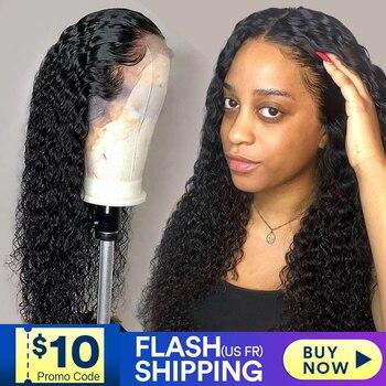 Pelucas de cabello humano con frente de encaje para mujeres negras, peluca rizada de ondas profundas hd frontal bob, peluca brasileña afro corta larga de 30 pulgadas, peluca de agua completa
