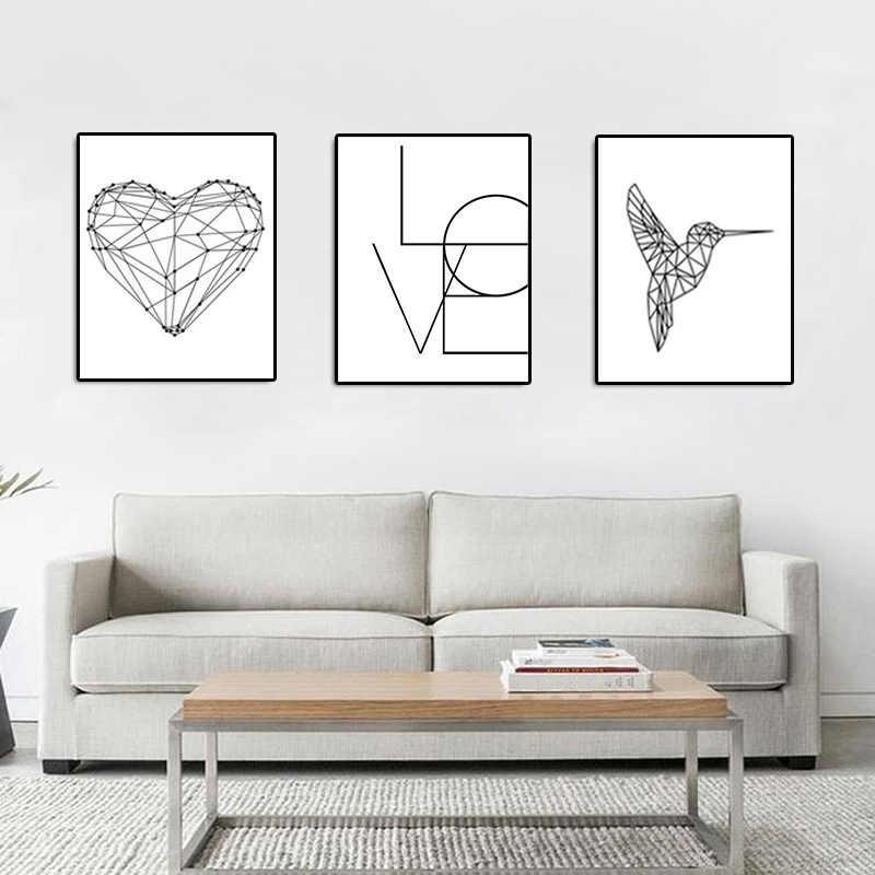 In Bianco e nero Nordic 1PC Decorazione Della Casa Del Cuore Tela Uccelli Pittura Amore Poster di Vendita Calda Per La Parete del Soggiorno le immagini