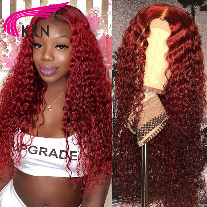 Парик из человеческих волос KRN 99J 13x6, парик из человеческих волос винного цвета, вьющиеся человеческие волосы, 360 Полный парик Remy шнурка 250% дл...