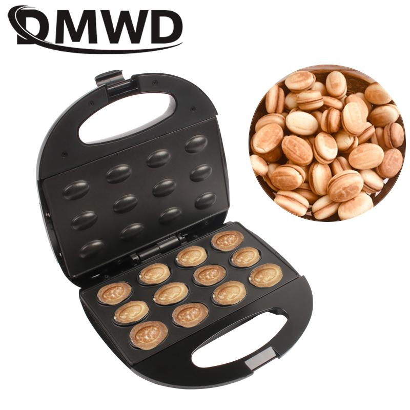 DMWD Mini Electric Walnut Cake Maker Automatic Nut Waffle Bread Machine Sandwich Iron Toaster Baking Breakfast Pan Oven EU plug