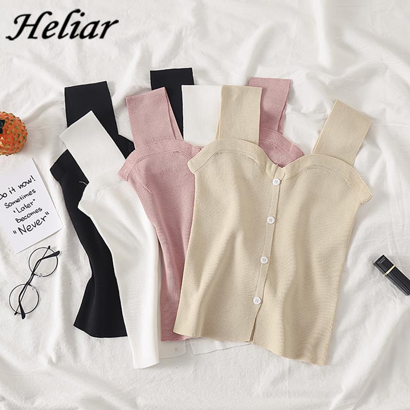 HELIAR Summer Female Cami Casual Camis Sexy Crop Top With Button Silky Camisole Femme Loose Camis Women Top Tank Top Femme Vest