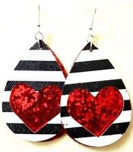 New Teardrop PU Leather Earrings Lightweight Leaf Petal Drop Earrings Valentines Day Gift For Women Girls