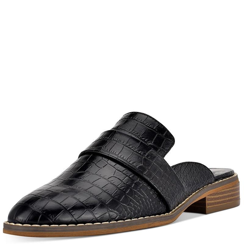 Croc en relief femmes Mules à l'extérieur pantoufles chaussures bas talons épais grande taille 14 16 dames mode mocassins Cascual Mature Shofoo - 3