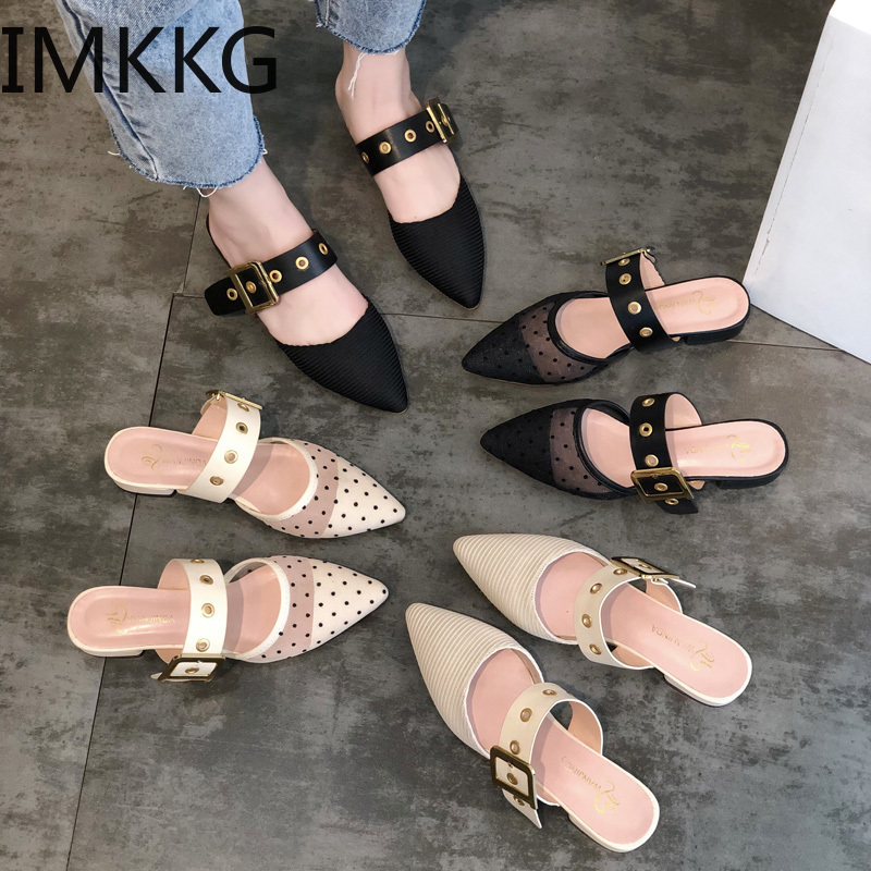 Summer Pointed Low Heel Women's Polka Dot Shoes Mesh Sandals Square Heels Outsides Ladies Slides Comfort  Beach Mules Shoes