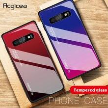 Dégradé Verre Trempé étui pour samsung Galaxy S10 S8 S9 Plus A50 A30 A70 A7 A8 2018 Note 9 8 Couleur coques de téléphone Housse coque