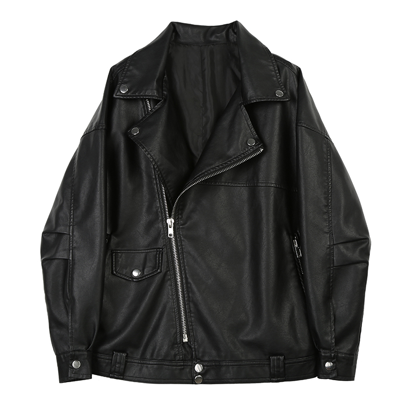 [EAM] Loose Fit Black Oversized Pu Leather Zipper Jacket New Lapel Long Sleeve Women Coat Fashion Tide Spring 2020 1X463 7