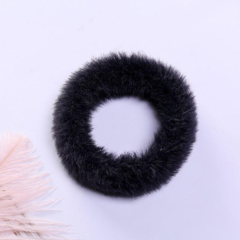 Новые зимние теплые мягкие резинки из кроличьего меха для женщин и девушек, эластичные резинки для волос, плюшевая повязка для волос, резинки, аксессуары для волос - Цвет: 44
