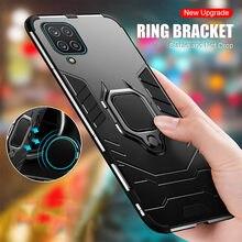 Armadura magnética do carro titular caso para samsung galaxy a12 caso samung samsun um 12 a125f suporte com anel à prova de choque capa telefone coque