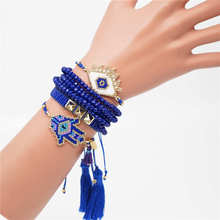 Go2boho Evil Eye Bracelets Women Delica MIYUKI Bracelet Fatima Hamsa Hnad Jewelry Blue Crystal Tassel Pulsera Mujer 2019