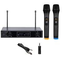 VHF Wireless 2 Ch Dual Handheld Microphone Mic System Kits Party KTV Meeting MU 888 Audio One For Two Microphone UK plug