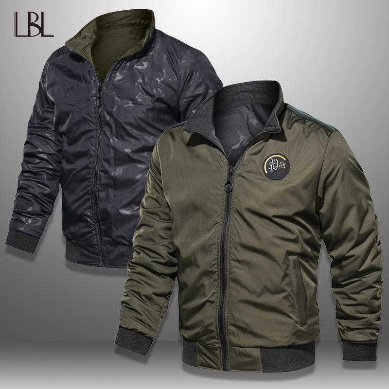 LBL Casual Bomber Jacket Men Slim Fit Autumn Winter Double Side Mens Military Jackets Outwear Coat Man Sportswear Tracksuit 2019