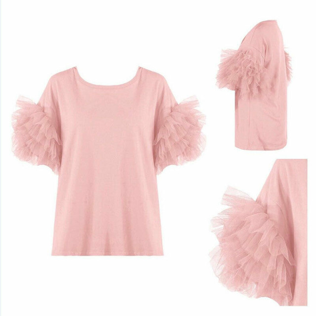 2020 Sexy Women Short Sleeve Mesh Tulle Ruffle T Shirt Ladies Boho Summer Casual Tops Tee Shirt Holiday Haut Femme Solid Clothes