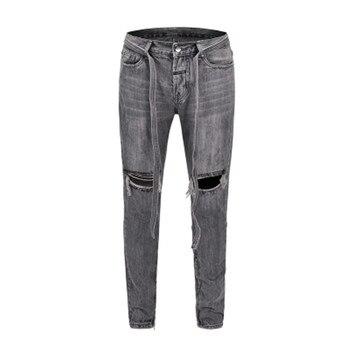 Men Jeans Denim Knee Hole Scratch Sashes Vintage Blue High Street Slim Pencil Pants Elastic Outdoor HIP HOP Punk Streetwear