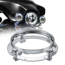 7นิ้วสแตนเลสรอบ LED ไฟหน้ายึดแหวนสำหรับ Built In Strong Springs ชุบโครเมี่ยม