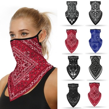 Outdoor Geometric Print Seamless Ear Face Cover Sports Washable Scarf Neck Tube Face Dust Riding Facemask Windproof Bandana image