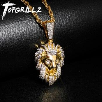 Подвеска TOPGRILLZ в стиле хип-хоп, позолоченная микро-подвеска с кубическим цирконием и головой льва, подвеска для мужчин, украшения в подарок