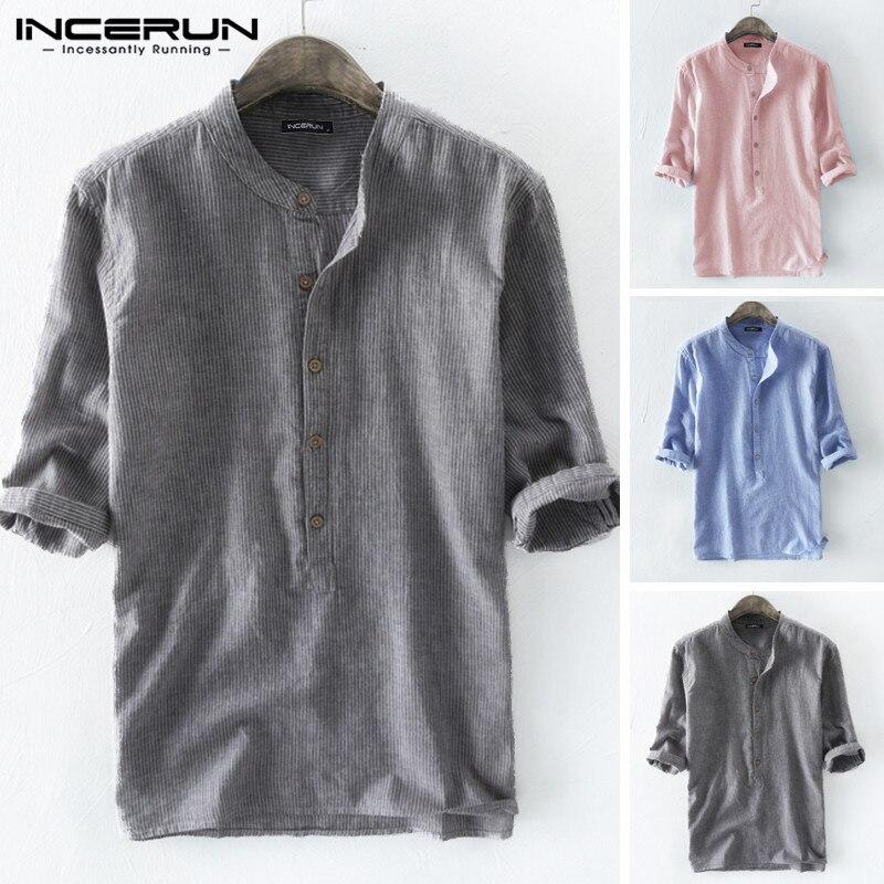 INCERUN 2020 Fashion Men Striped Shirt 3/4 Sleeve Casual Cotton Crew Neck Loose Retro Streetwear Brand Shirts Men Harajuku S-5XL