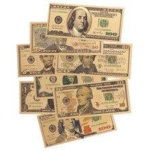 8 шт 24K позолоченные долларов памятные Примечания поддельные деньги Коллекция 1 2 5 10 20 50 100 доллар