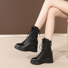 Fashion Boots Wedges Women Shoes Ankle Black Waterproof Winter Genuine-Leather Taiwan