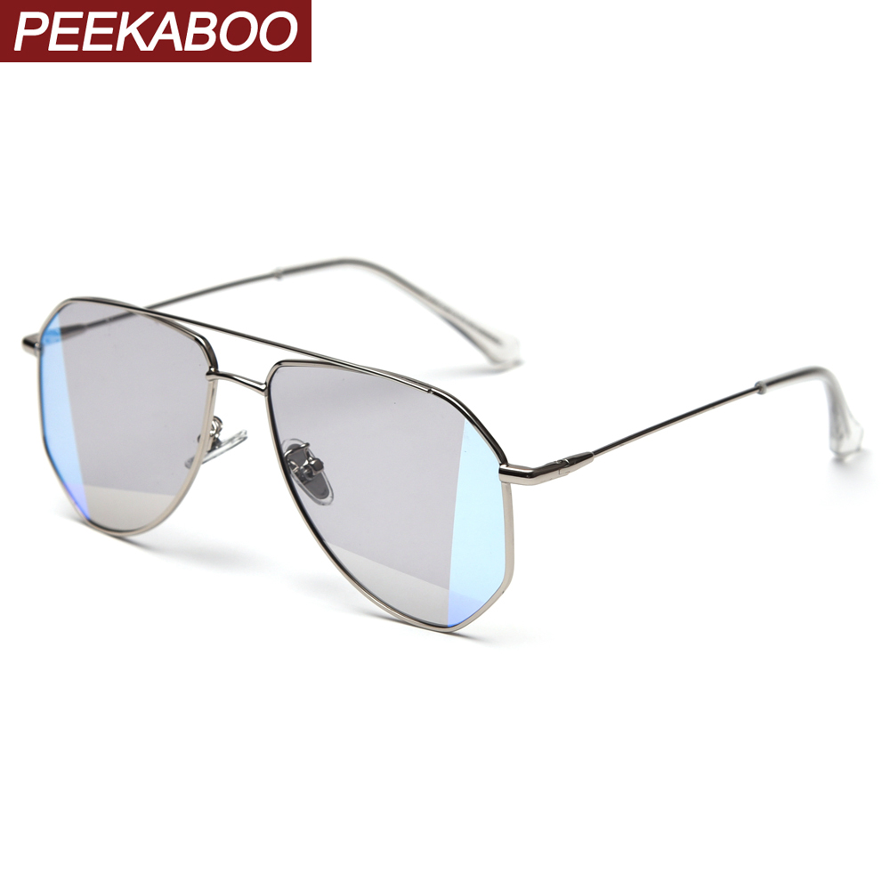 Peekaboo Retro Oversized Sunglasses Polarized Uv400 Metal High Quality Irregular Women Sun Glasses For Men 2020 New Year Gifts