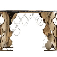 10x Pack, 80cm Height Gilded Stainless Steel Console Table / 128cm Width