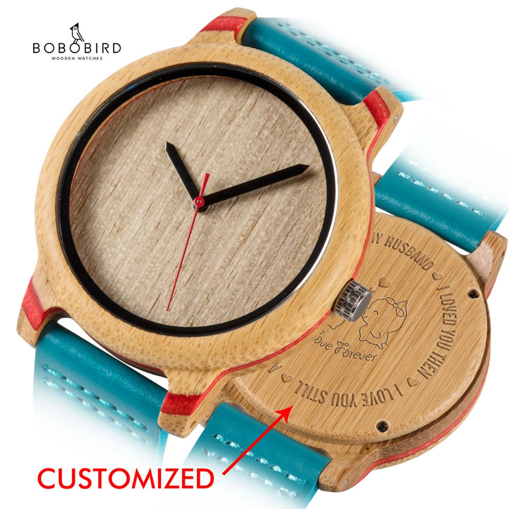 BOBO BIRD Wood Customized Watches Genuine Leather Simple Stylish Women Watches Gift For Bridesmaid