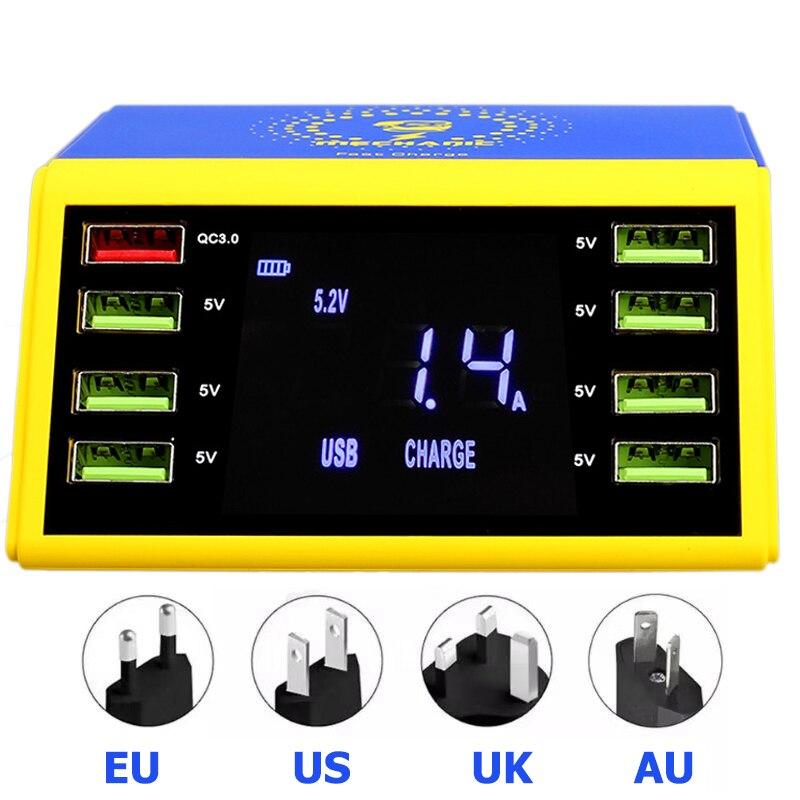 Механик ЖК цифровой дисплей быстрое зарядное устройство 8 портов usb зарядная док станция QC 3,0 с 10 Вт Беспроводное зарядное устройство для iPhone