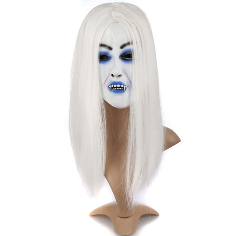 Halloween Mask For Children Horror Mask Novelty Scary Mask Halloween Radiant Zombie Bride With White Hair Horror Ghost Mask