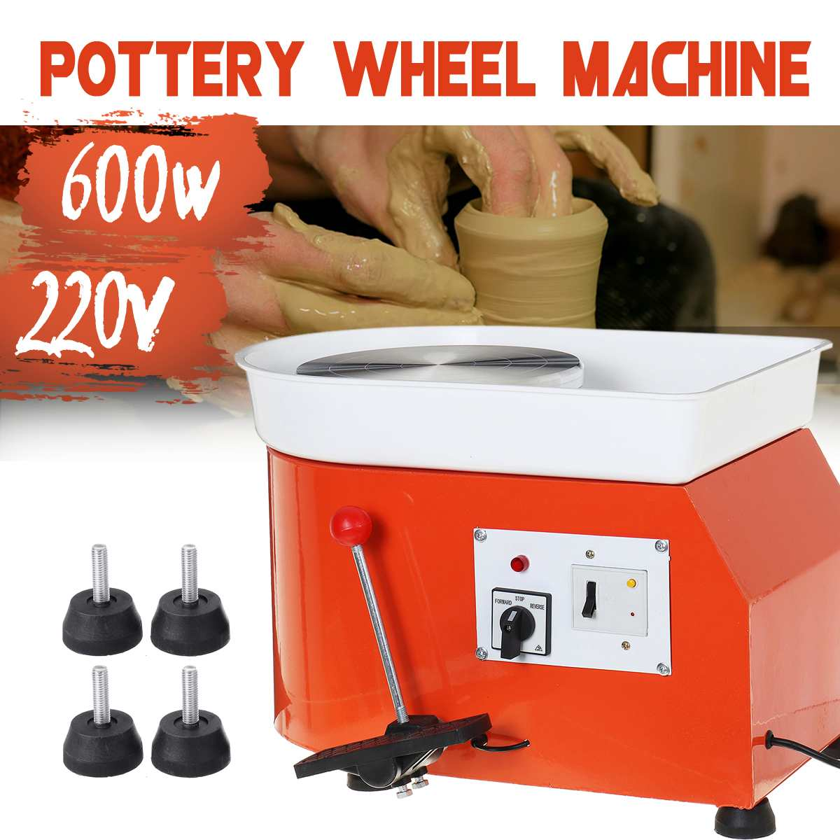 Meigar 220V 600W Turning Electric Pottery Wheel Machine AU DIY Clay Pottery Tool Kit For Ceramic Work 25CM Dia.