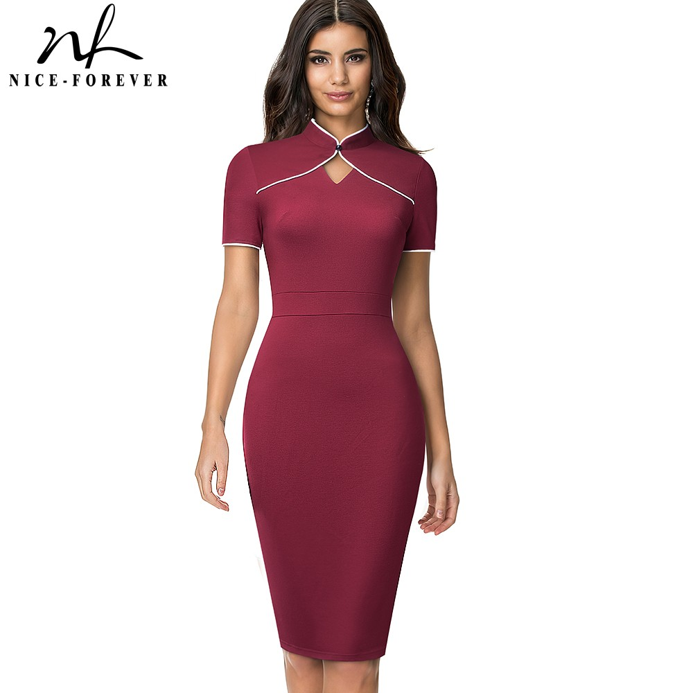 Nice-forever Summer Women Fashion Hollow Out Dresses Formal Business Party Slim Bodycon Vintage Dress B623