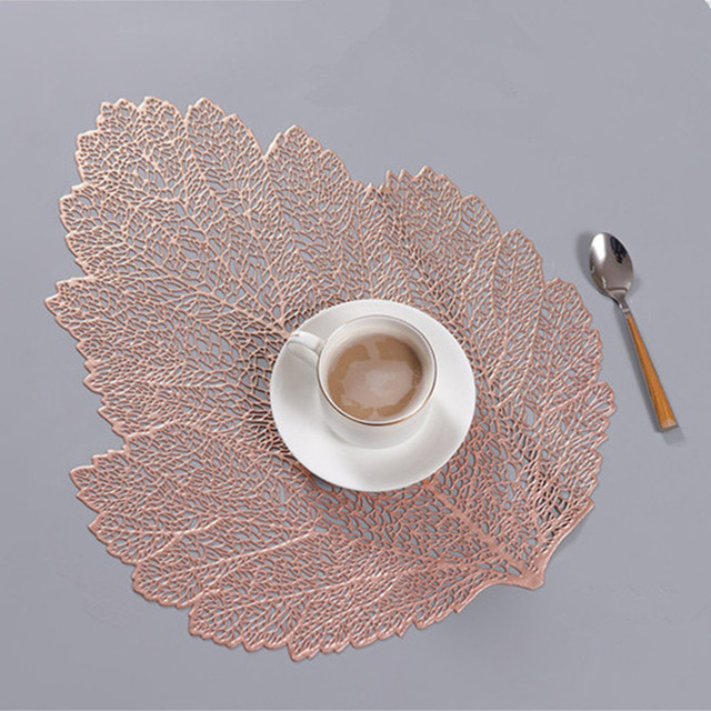 Tischset für esstisch Untersetzer Blatt Simulation Anlage Tasse PVC Kaffee Tisch Matten Küche Weihnachten Home Dekoration