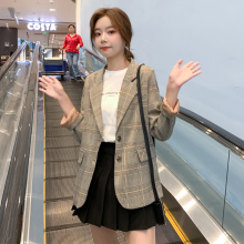 Korean Plaid Ladies Blazer Khaki Casual Loose Stylish Suit Jacket Blazer Paillette Retro Women's Clothing Large Size MM60NXZ