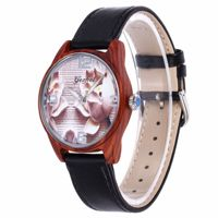 men watch Japan Citizen 2035 movement Leather strap Wooden 3D surface mens watches top brand luxury