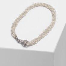 Amorita wykwintny tygrys główny trend mody perłowy wielowarstwowy naszyjnik