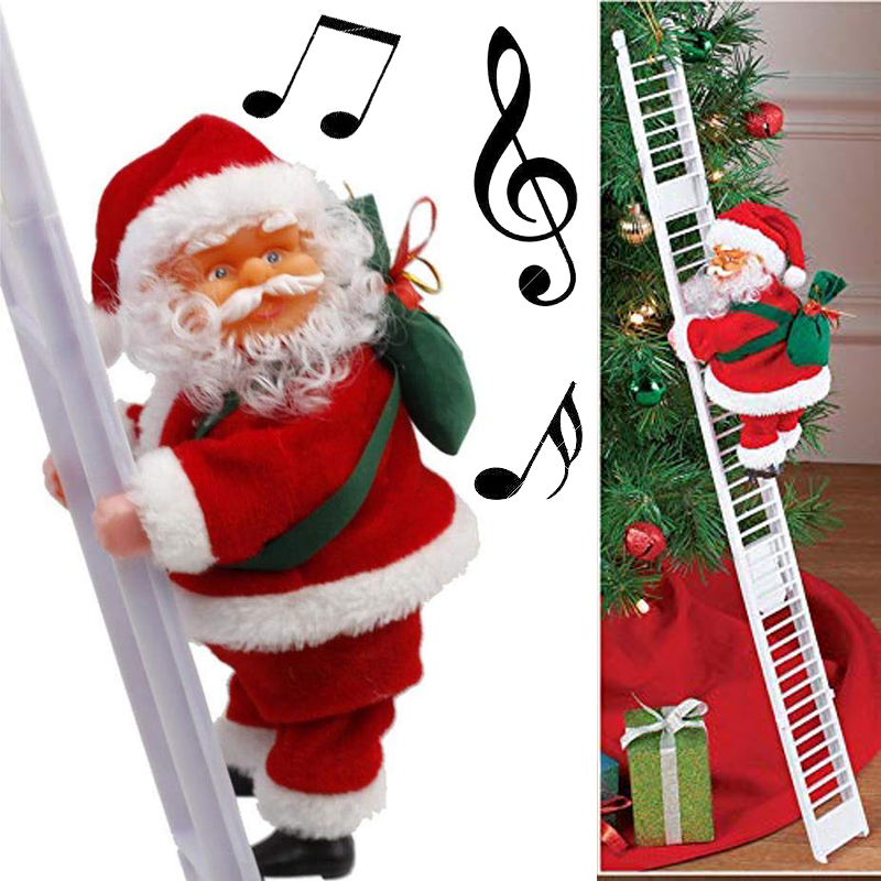 Christmas Santa Claus Electric Climb Ladder Hanging Decoration Christmas Tree Ornaments Funny New Year Kids Gifts Party Decor