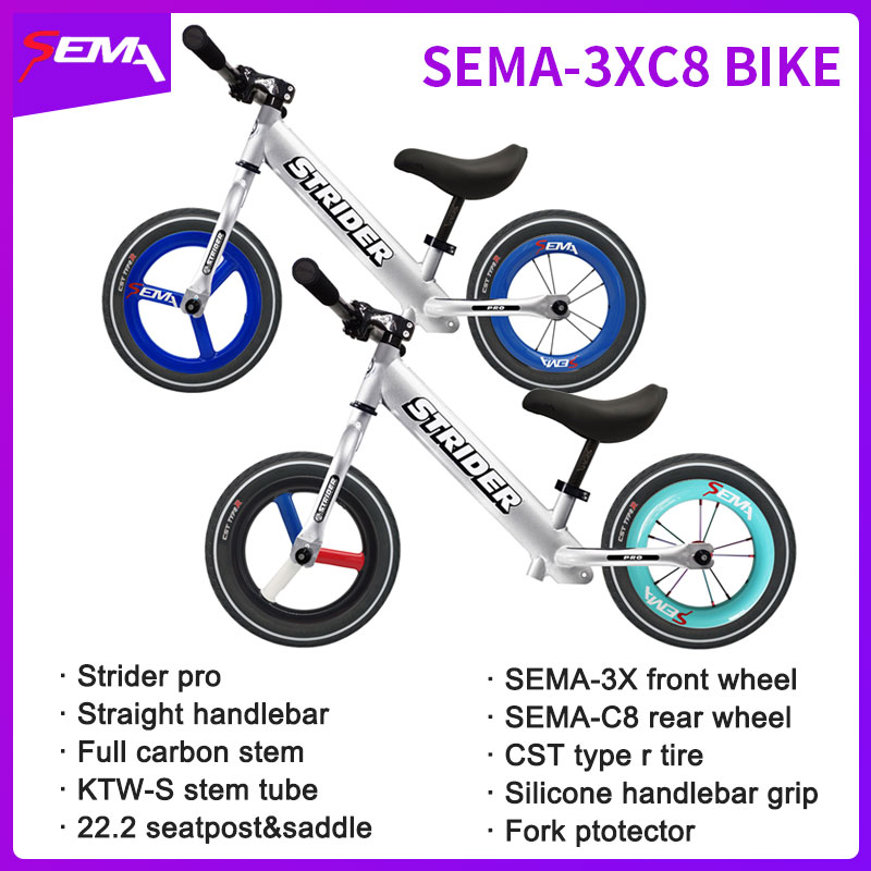 New Upgrade Striders Bike -3XC8 Set With Carbon Parts Balance Bike Push Bike With Carbon Wheels Handlebar Whole Bike Sale