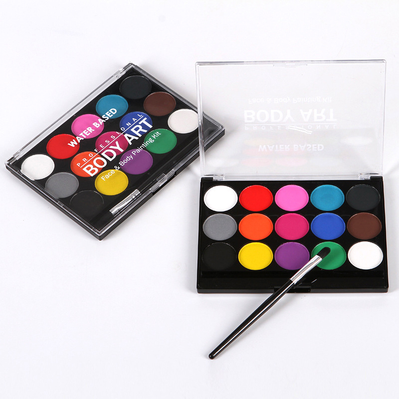 15 цветов краска для лица ing Body Makeup Нетоксичная безопасная масляная краска для лица Рождество Хэллоуин вечерние инструменты с кисточкой