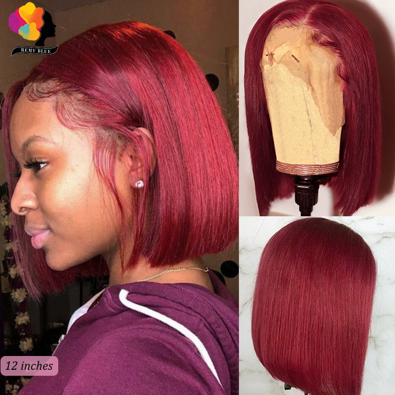 Ombre 99J Colored Lace Front Wig Burgundy Short Bob Wigs 13X4 Lace Front Human Hair Wigs Peruvian Pre Plucked Remyblue Remy 150