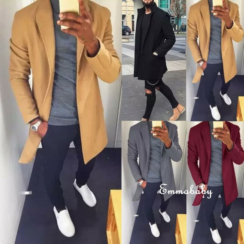 2020 Fashion Men's Noble British Coats Casual Outwear Spring Autumn Warm Long Overcoat Cool Windbreaker Tops Jacket Clothes