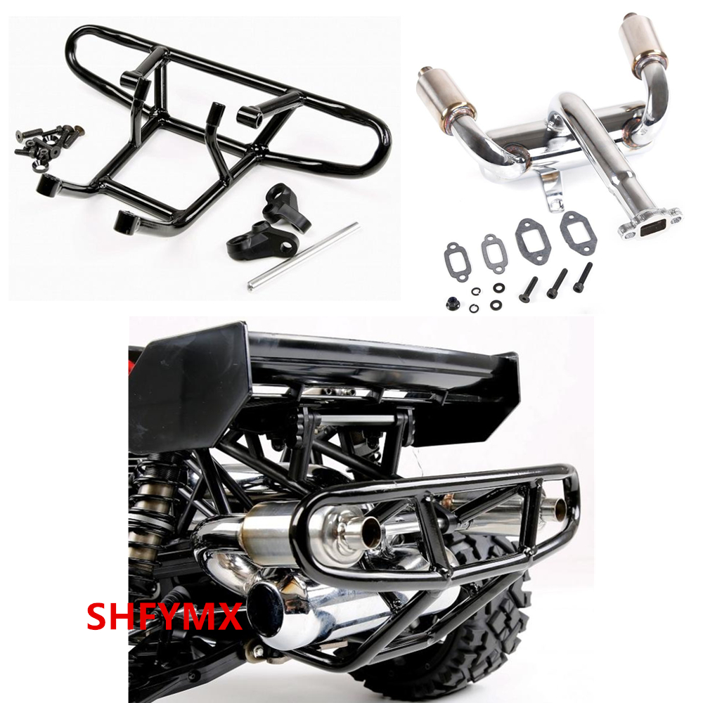 Buggy Rc Nitro Engine Double Pipe Exhaust Muffler & Rear Bumper For 1/5 Scale Remote Control Car Hpi Racing Bajas5B 5T SC Rc Car