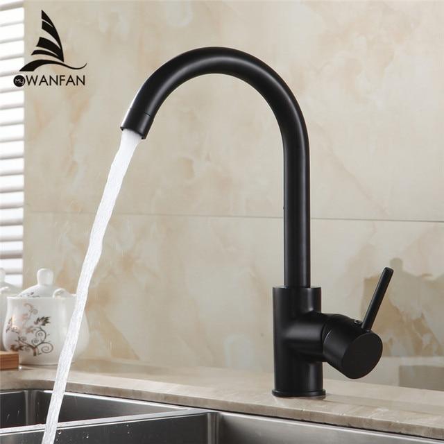 المطبخ الحنفيات النحاس بالوعة المطبخ صنبور المياه 360 تدوير قطب صنبور خلاط حامل واحد ثقب واحد أسود صنبور حوض خلاط 7115
